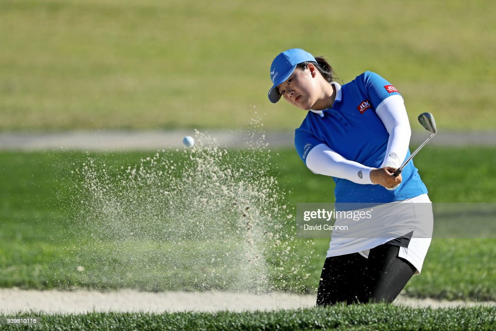 Angel Yin of the United States plays her third shot on the par 5, second hole during the first round of the 2018 ANA Inspiration on the Dinah Shore Tournament Course at Mission Hills Country Club on March 29, 2018 in Rancho Mirage, California.
