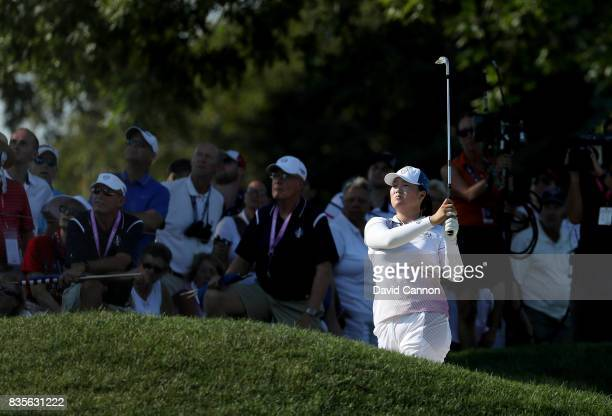 Angel Yin of the United States Team plays her second shot on the 16th hole in her match with Lizette Salas against Anna Nordqvist and Jodi Ewart...