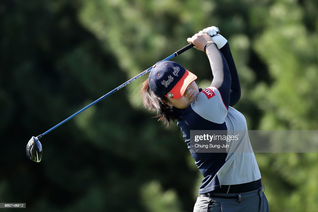 Angel Yin of United States plays a tee shot on the 2nd hole during the second round of the LPGA KEB Hana Bank Championship at the Sky 72 Golf Club Ocean Course on October 13, 2017 in Incheon, South Korea.