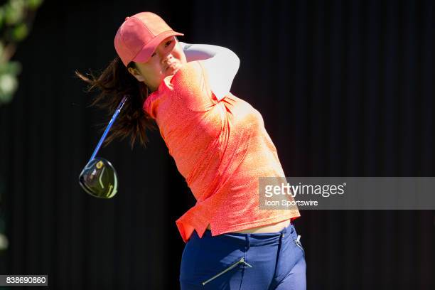 Angel Yin tees off on the 10th hole during the first round of the Canadian Pacific Women's Open on August 24, 2017 at The Ottawa Hunt and Golf Club,...