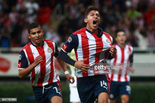Angel Zaldivar of Chivas celebrates after scoring his team's first goal during the 7th round match between Chivas and America as part of the Torneo...
