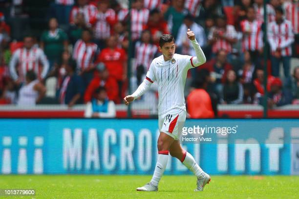 Angel Zaldivar of Chivas celebrates after scoring the first goal of his team during the third round match between Toluca and Chivas as part of the...