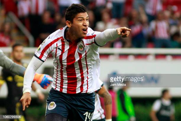 Angel Zaldivar of Chivas celebrates after scoring the first goal of his team during a 14th round match between Chivas and Morelia as part of Torneo...