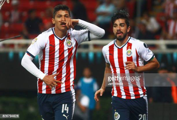 Angel Zaldivar of Chivas celebrates after scoring the opening goal during the third round match between Chivas and Necaxa as part of the Torneo...