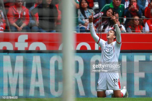 Angel Zaldivar of Chivas celebrates after scoring the second goal of his team during the third round match between Toluca and Chivas as part of the...