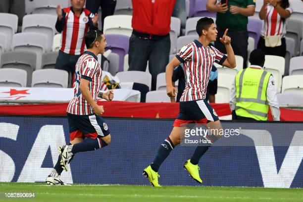 Angel Zaldivar of Guadalajara celebrates scoring his side's first goal during the match between Kashima Antlers and CD Guadalajara on December 15...