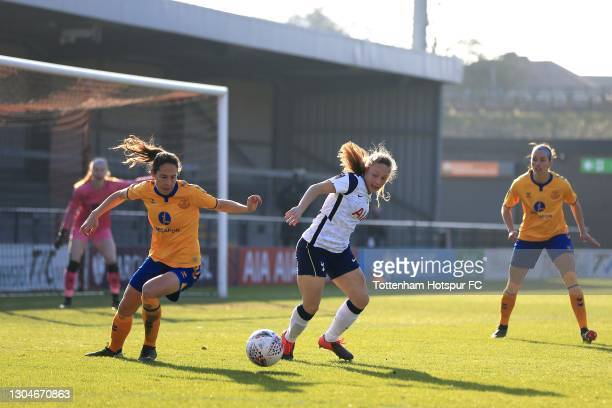 Angela Addison of Tottenham Hotspur and Rikke Sevecke of Everton during the Barclays FA Women's Super League match between Tottenham Hotspur Women...