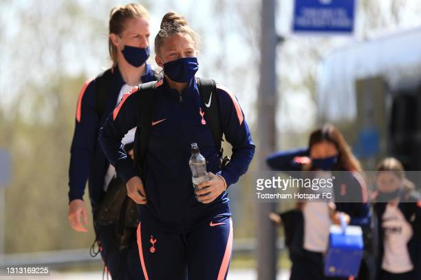 Angela Addison of Tottenham Hotspur arrives during the Vitality Women's FA Cup Fourth Round match between Reading Women and Tottenham Hotspur Women...