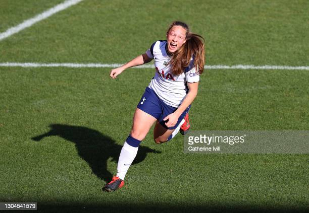 Angela Addison of Tottenham Hotspur celebrates after scoring their side's first goal during the Barclays FA Women's Super League match between...