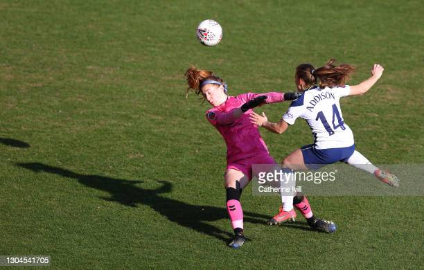 Angela Addison of Tottenham Hotspur scores their side's first goal past Alexandra Elena MacIver of Everton during the Barclays FA Women's Super...