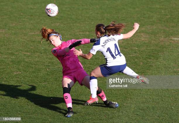 Angela Addison of Tottenham Hotspur scores their side's first goal past Sandy MacIver of Everton during the Barclays FA Women's Super League match...