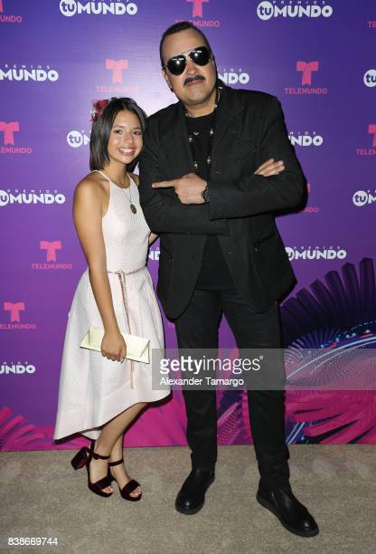 Angela Aguilar and Pepe Aguilar are seen in the press room during Telemundo's 'Premios Tu Mundo' at AmericanAirlines Arena on August 24 2017 in Miami...