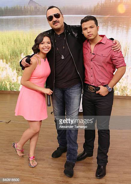 Angela Aguilar Pepe Aguilar and Leonardo Antonio Aguilar are seen on the set of 'Despierta America' at Univision Studios on June 17 2016 in Miami...