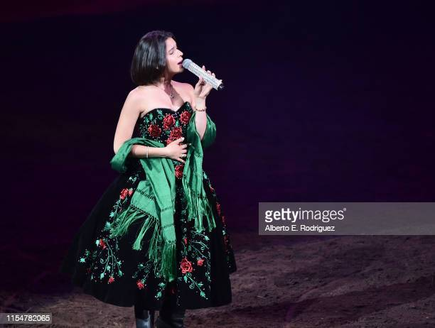 Angela Aguilar performs at Pepe Aguilar Y Familia Presentan Jaripeo Sin Frontera 2019 at Staples Center on June 08 2019 in Los Angeles California