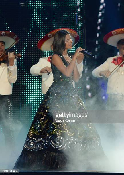 Angela Aguilar performs on stage at Telemundo's 2017 'Premios Tu Mundo' at American Airlines Arena on August 24 2017 in Miami Florida