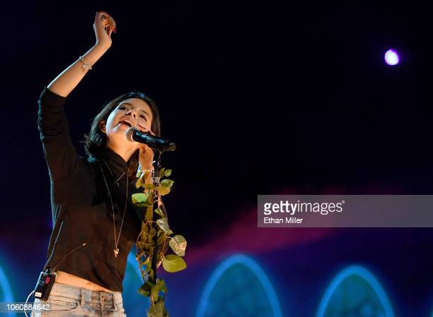 Angela Aguilar performs onstage during rehearsals for the 19th annual Latin GRAMMY Awards at MGM Grand Garden Arena on November 12 2018 in Las Vegas...