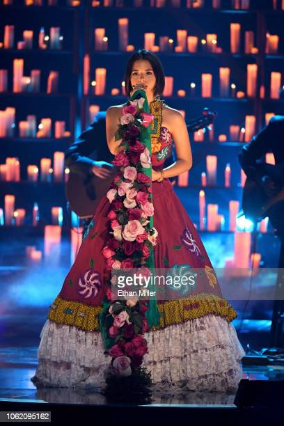 Angela Aguilar performs onstage during the 19th annual Latin GRAMMY Awards at MGM Grand Garden Arena on November 15 2018 in Las Vegas Nevada