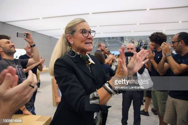 Angela Ahrendts greets the clerks during the Apple store opening in Milan at Piazza Liberty on July 26 2018 in Milan Italy