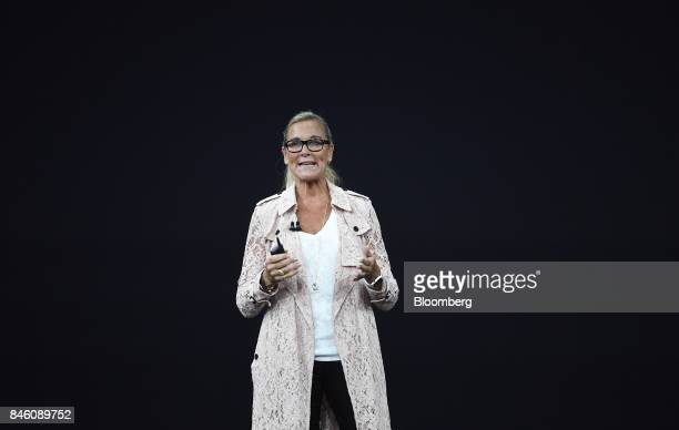 Angela Ahrendts senior vice president of retail and online stores at Apple Inc speaks during an event at the Steve Jobs Theater in Cupertino...