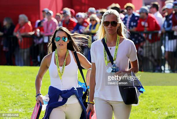 Angela Akins and Sofia Lundstedt look on during afternoon fourball matches of the 2016 Ryder Cup at Hazeltine National Golf Club on September 30 2016...