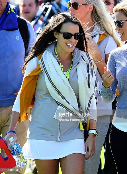 Angela Akins attends the morning foursome matches of the 2016 Ryder Cup at Hazeltine National Golf Club on October 1 2016 in Chaska Minnesota