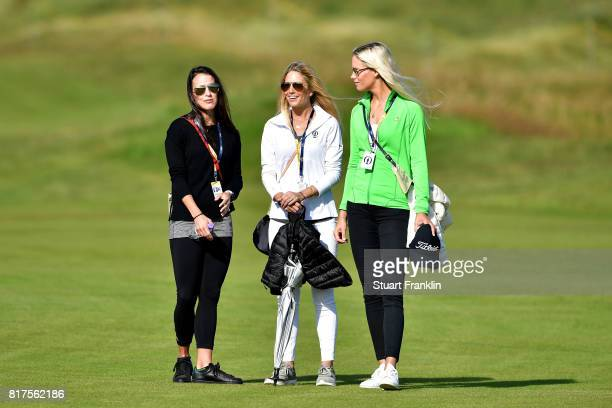 Angela Akins Gala Ortin and Sofia Lundstedt look on during a practice round prior to the 146th Open Championship at Royal Birkdale on July 18 2017 in...