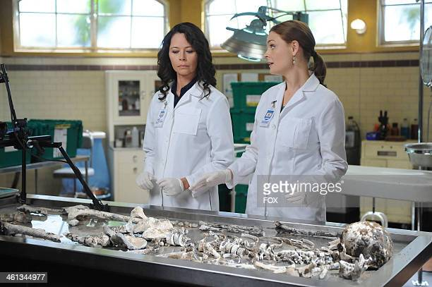 Angela Alvarado Rosa and Emily Deschanel in the 'The Nazi on the Honeymoon' episode of BONES airing Monday Nov 4 2013 on FOX