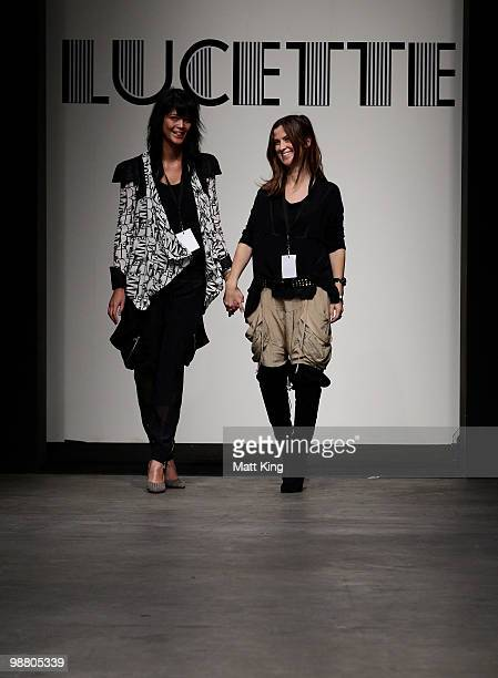 Angela Backshell and Tracy Miller designers of Lucette on the catwalk on the first day of Rosemount Australian Fashion Week Spring/Summer 2010/11 at...