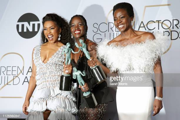 Angela Basset Lupita Nyong'o and Danai Gurira Winners of Outstanding Performance by a Cast in a Motion Picture for Black Panther pose in the press...