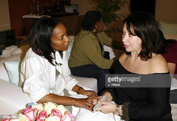 Angela Bassett and celebrity manicurist Deborah Lippmann at the Jaguar Getaway Suite