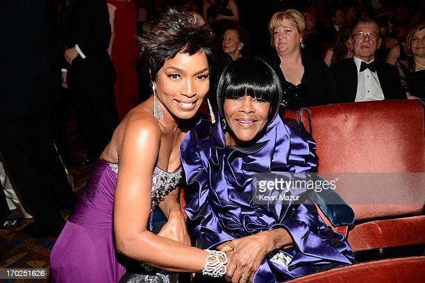 Angela Bassett and Cicely Tyson attend The 67th Annual Tony Awards backstage at Radio City Music Hall on June 9, 2013 in New York City.
