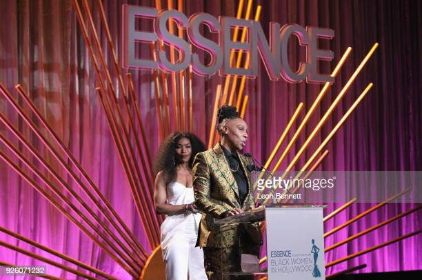 Angela Bassett and Honoree Lena Waithe onstage during the 2018 Essence Black Women In Hollywood Oscars Luncheon at Regent Beverly Wilshire Hotel on...