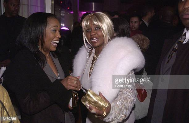Angela Bassett and Janice Combs attend the after party for opening night of 'Raisin in the Sun' on April 26 2004 in New York City