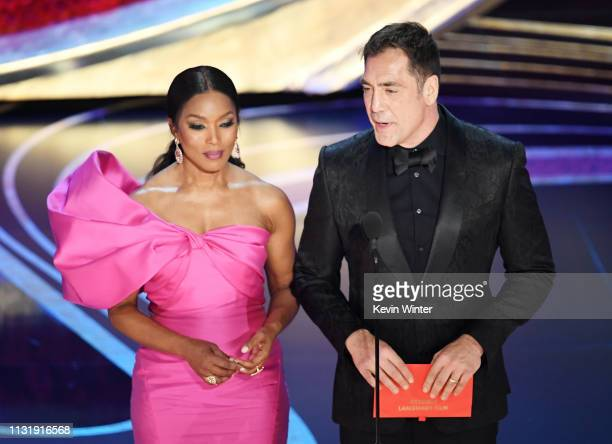 Angela Bassett and Javier Bardem speak onstage during the 91st Annual Academy Awards at Dolby Theatre on February 24 2019 in Hollywood California