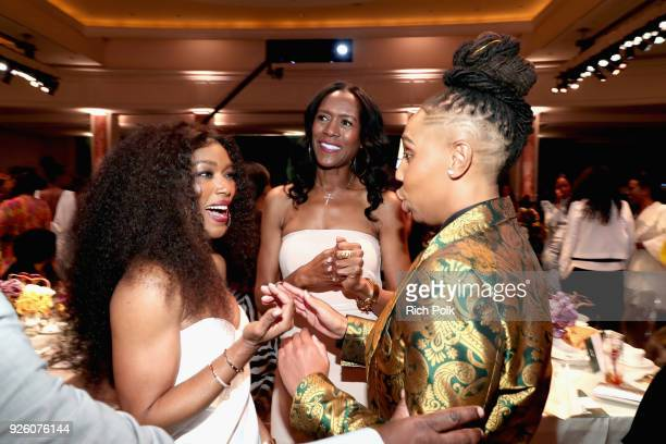 Angela Bassett and Lena Waithe attend the 2018 Essence Black Women In Hollywood Oscars Luncheon at Regent Beverly Wilshire Hotel on March 1 2018 in...