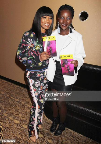 Angela Bassett and Lupita Nyong'o pose backstage at the new revival of the play 'Children of a Lesser God' on Broadway at Studio 54 Theatre on April...
