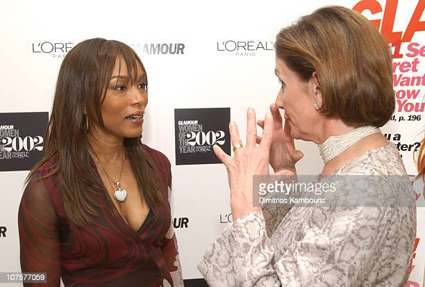 Angela Bassett and Rep Nancy Pelosi during 13th Annual Glamour Magazine's Women of the Year Awards Backstage at Metropolitan Museum of Art in New...