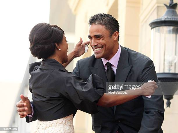 Angela Bassett and Rick Fox attend the ceremony honoring Angela with a star on the Hollywood Walk of Fame on March 20 2008 in Hollywood California