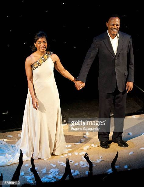 Angela Bassett and Samuel L Jackson attend the final curtain call and presentation for Broadway's 'The Mountaintop' at The Bernard B Jacobs Theatre...