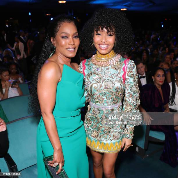 Angela Bassett and Yara Shahidi attend the 51st NAACP Image Awards Presented by BET at Pasadena Civic Auditorium on February 22 2020 in Pasadena...