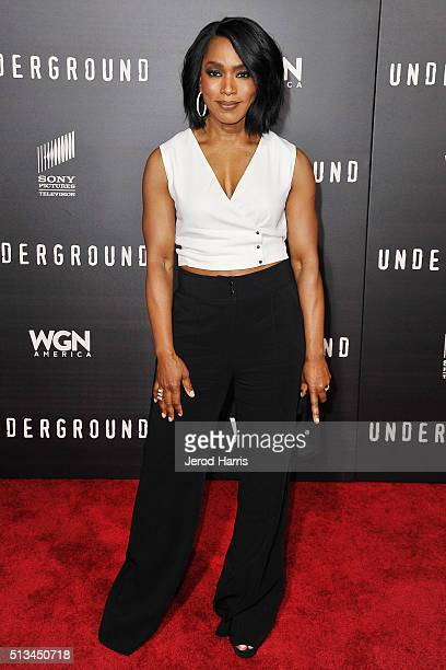 Angela Bassett arrives at the Premiere of WGN America's 'Underground' at The Theatre at The Ace Hotel on March 2 2016 in Los Angeles California