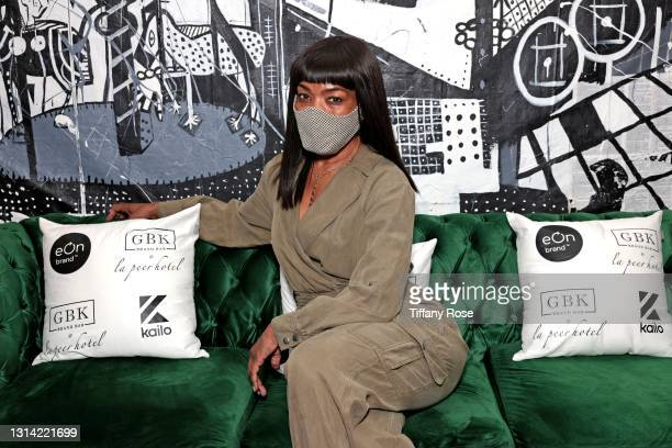 Angela Bassett attends the EON Mist Sanitizer Pre-Oscars Lounge presented by GBK Brand Bar at La Peer Hotel on April 24, 2021 in Los Angeles,...