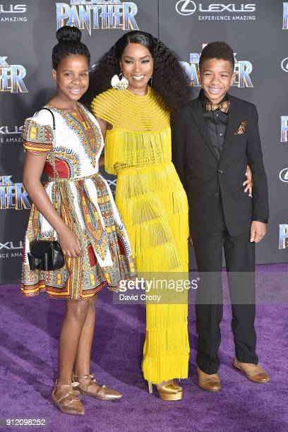 Angela Bassett Bronwyn Vance and Slater Vance attend the Premiere Of Disney And Marvel's Black Panther Arrivals on January 29 2018 in Hollywood...