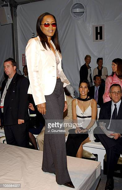 Angela Bassett during Olympus Fashion Week Spring 2005 Pamella Roland Front Row and Backstage at The Bryant Bryant Park in New York City New York...