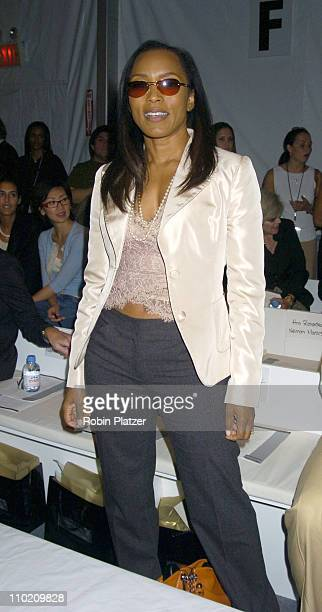 Angela Bassett during Pamella Roland Spring 2005 Fashion Show at The Tents at Bryant Park in New York New York United States