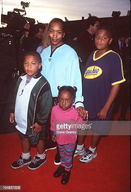 Angela Bassett Family during Dream Halloween Children Affected by AIDS at Barker Hanger in Santa Monica California United States
