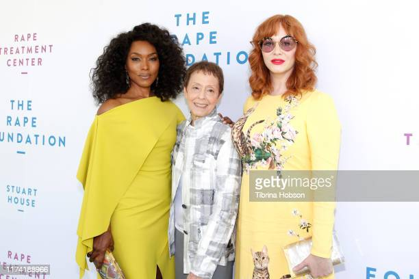 Angela Bassett Gail Abarbanel and Christina Hendricks attend the Rape Foundation Annual Brunch 2019 at a Beverly Hills Private Estate on October 06...