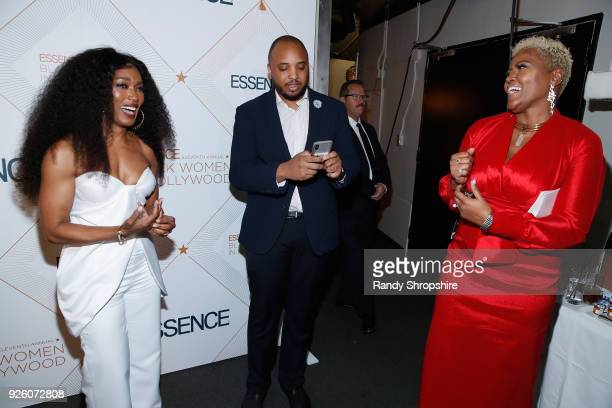 Angela Bassett Justin Simien and guest attend the 2018 Essence Black Women In Hollywood Oscars Luncheon at Regent Beverly Wilshire Hotel on March 1...