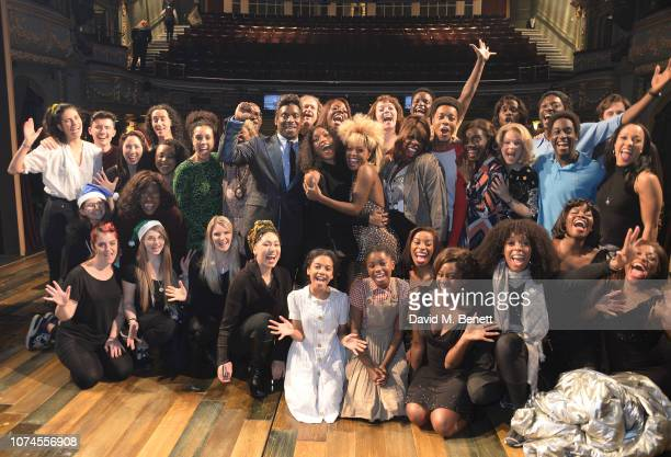 Angela Bassett poses backstage with cast members including Adrienne Warren and Kobna HoldbrookSmith at the West End production of 'Tina The Tina...