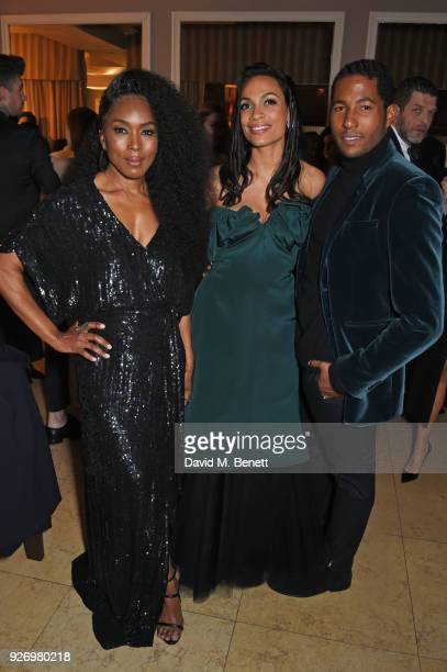 Angela Bassett Rosario Dawson and Hassan Pierre attend the first annual gala hosted by MAISONDEMODECOM and Perrier Jouet to celebrate Sustainable...